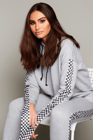 Grey Casual Hoodie with Check Print