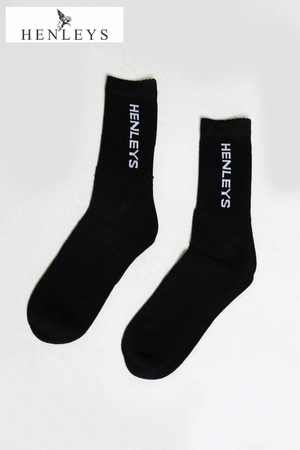 Henleys Black 5 Pack Logo Socks