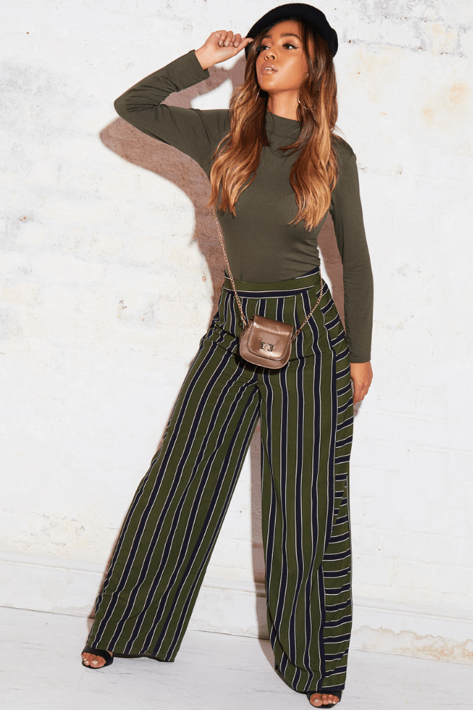 Green Stripe Wide Leg Trousers