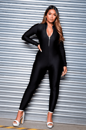Black Disco Zip Up Unitard