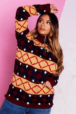 Wine Knitted Geometric Print Jumper