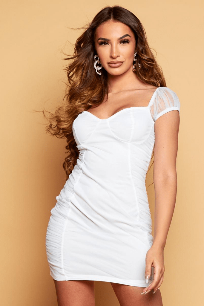 White Bustier Bodycon Chiffon Ruched Dress