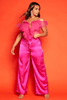 Fuchsia Wide Leg Satin Belted Trousers