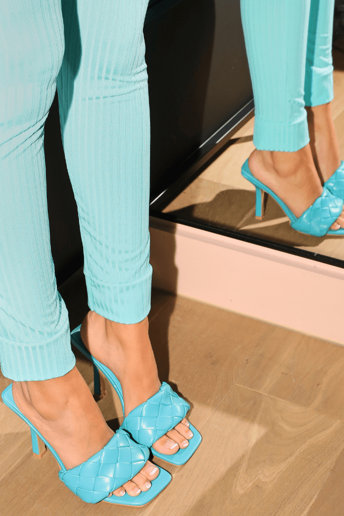 Turquoise Square Toe Quilted Mules