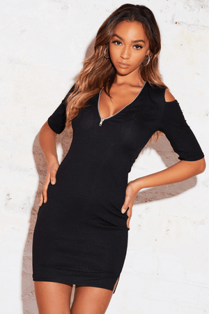 Black Ribbed Cold Shoulder Mini Dress