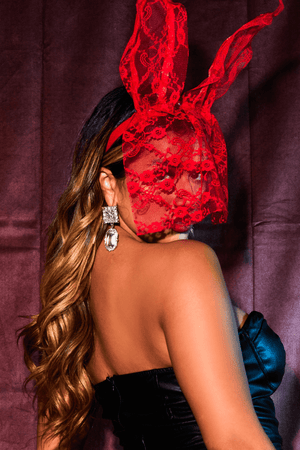 Red Lace Veil Bunny Ears