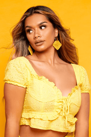 Yellow Crochet Frilly Lace Up Crop Top