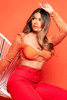 Orange Lace Bustier Crop Top