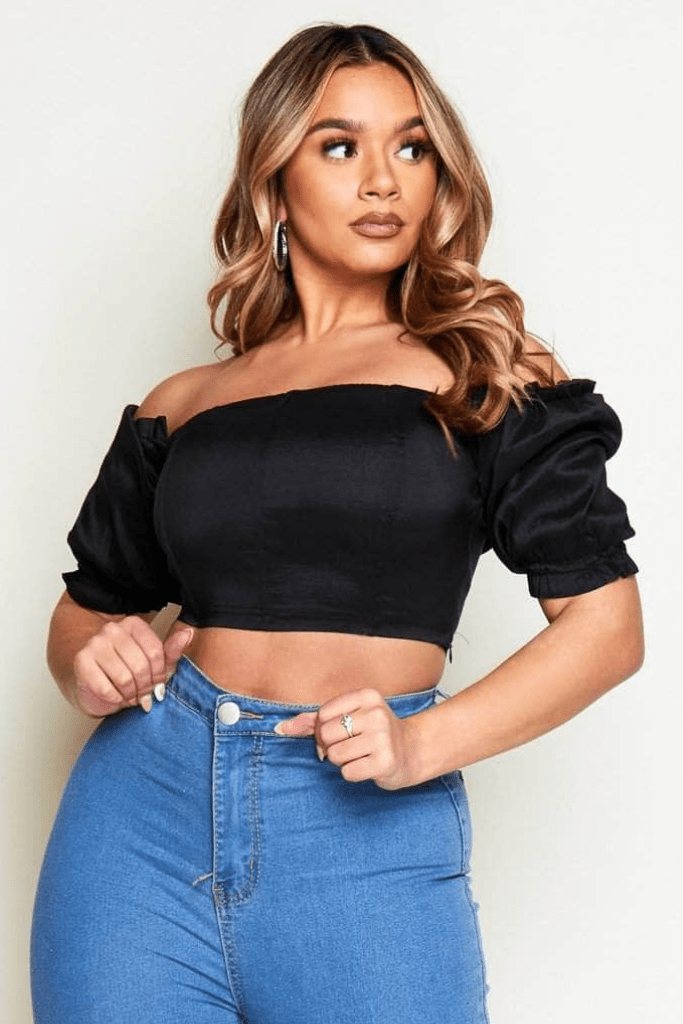 Black Taffeta Bardot Crop Top with Puff Sleeves