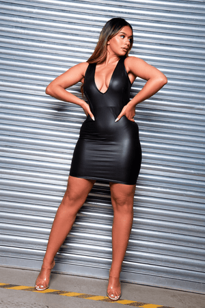 Black Pu Extreme Plunge Mini Dress