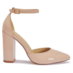 Nude Patent Pointed Toe Block Heels