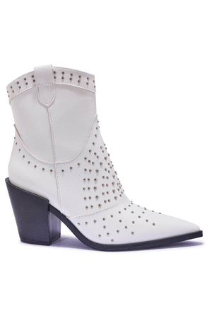 White Pu Western Ankle Boots with Stud Embellishment