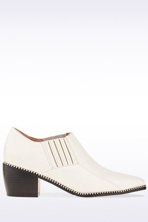 White PU Embellished Pointed Toe Mule-Ankle Boots-Hidden Fashion