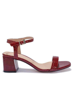Wine Croc Patent Block Heel Sandals