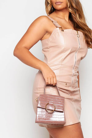 Mink Croc Bag with Gold Ring Detail