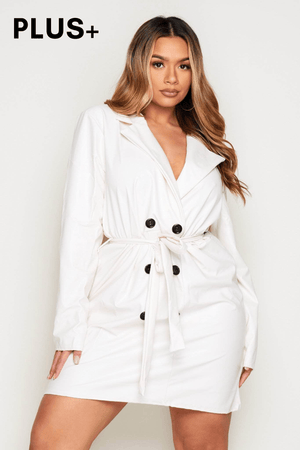 Plus+ Cream Pu Belted Blazer Dress