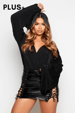 Plus+ Black Slinky Flare Sleeve Wrap Bodysuit