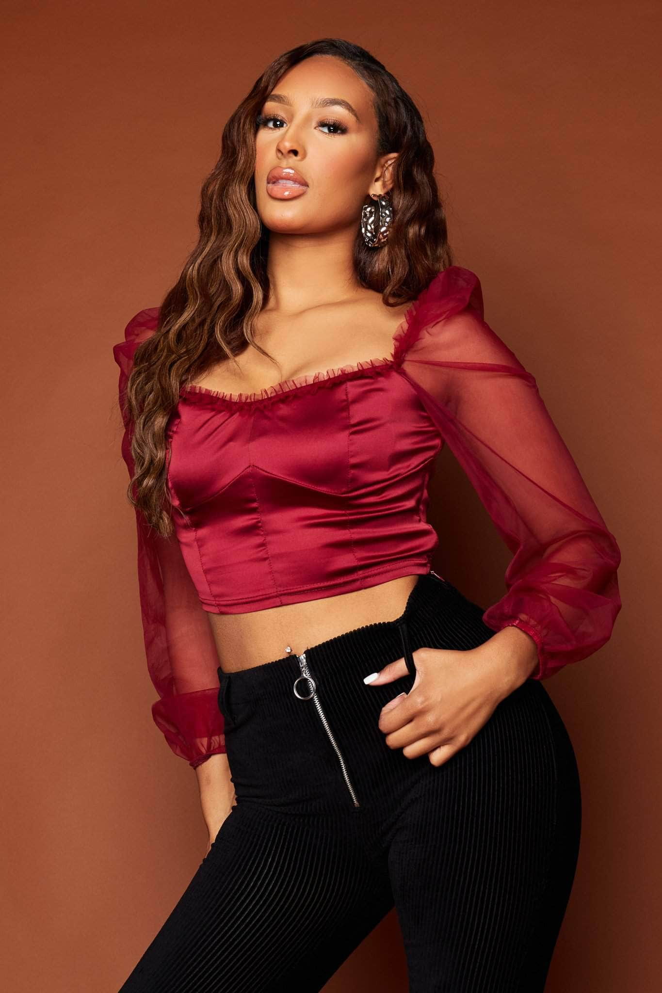 Wine Satin Crop Top with Ruffle Organza Sleeves