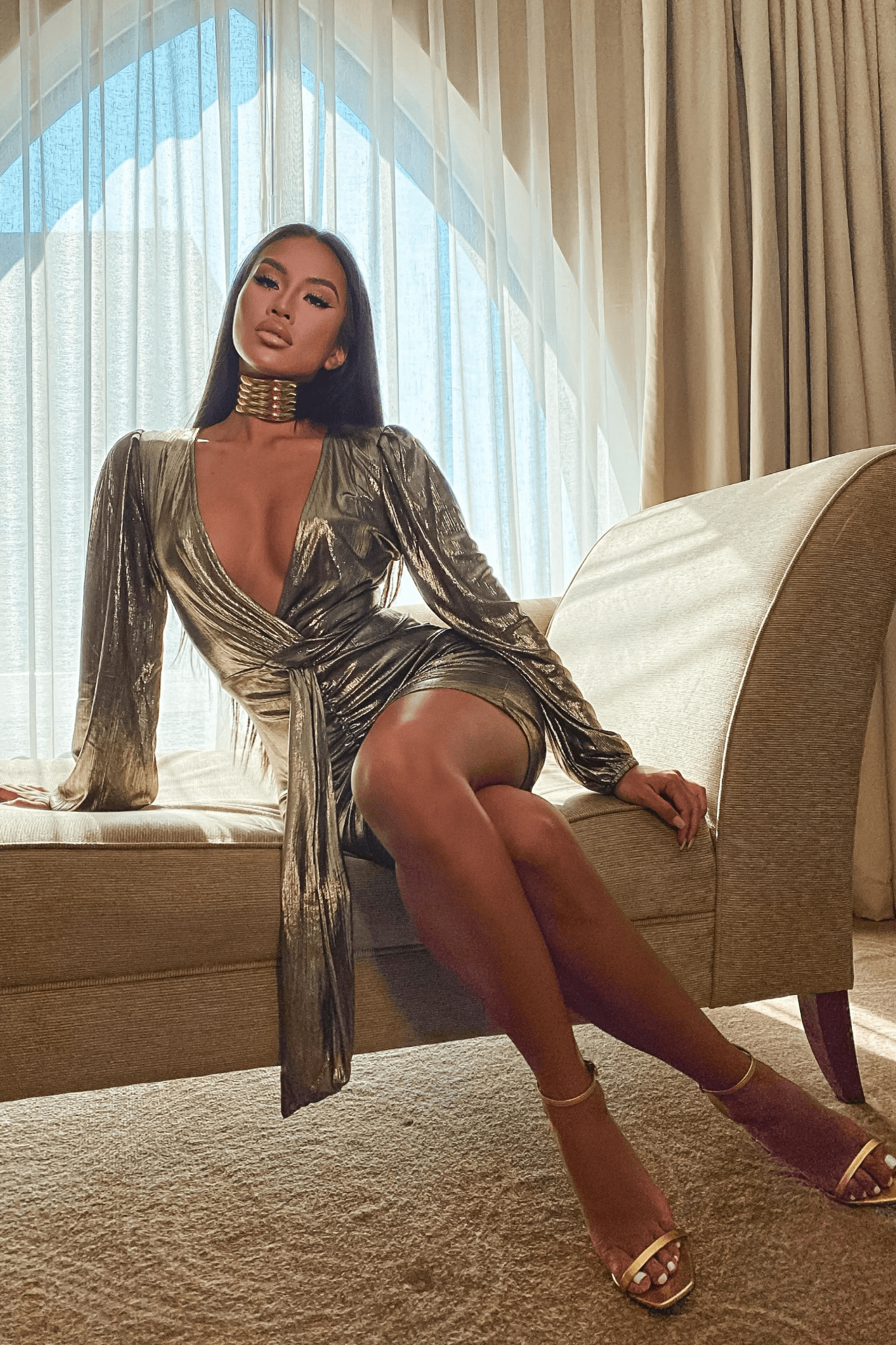 Gold Metallic Front Wrap Plunge Dress
