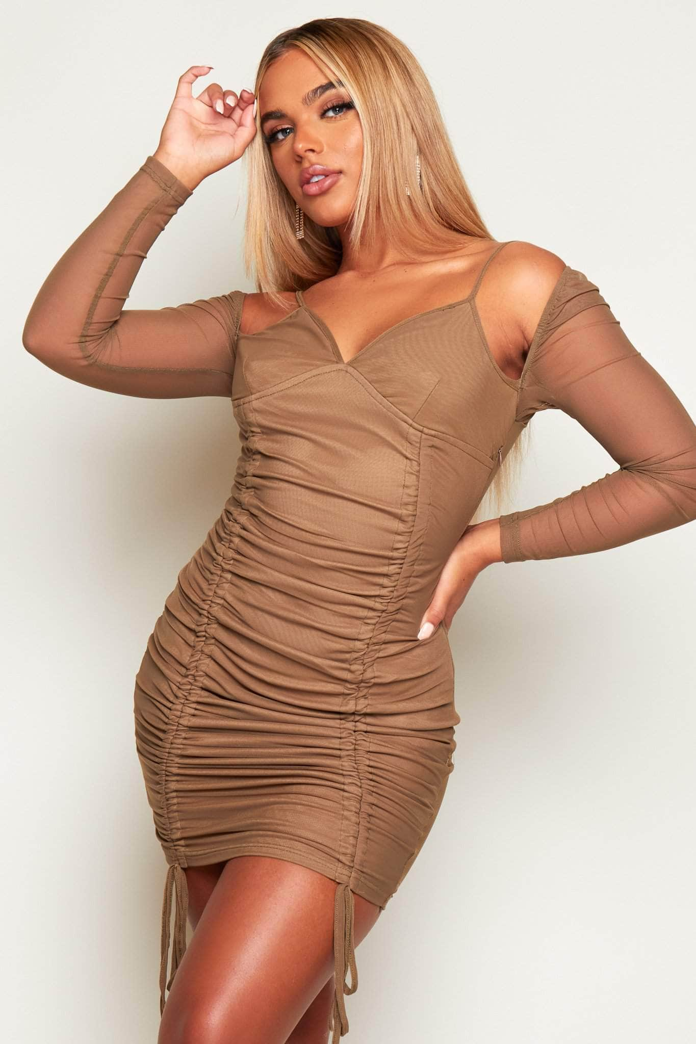 Khaki Mesh Dress with Double Ruched Front