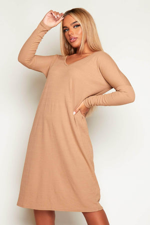 Camel Ribbed V Neck Midi Dress
