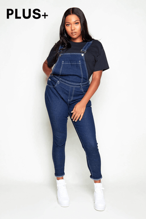 Plus+ Dark Wash Denim Dungarees