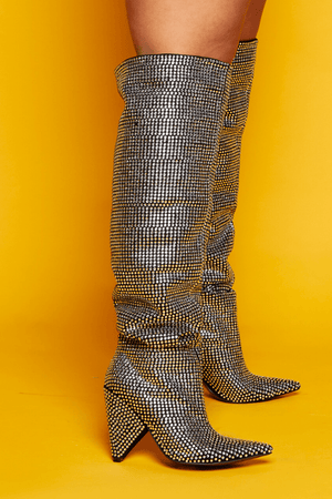 Silver Diamante Embellished Thigh High Boots