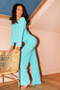 Turquoise V Neck Oversized Tee & Wide Trousers Co-ord
