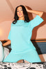 Turquoise Ribbed Oversized Tee & Leggings Co-ord