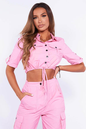 Pink Utility Buttoned Shell Crop Top