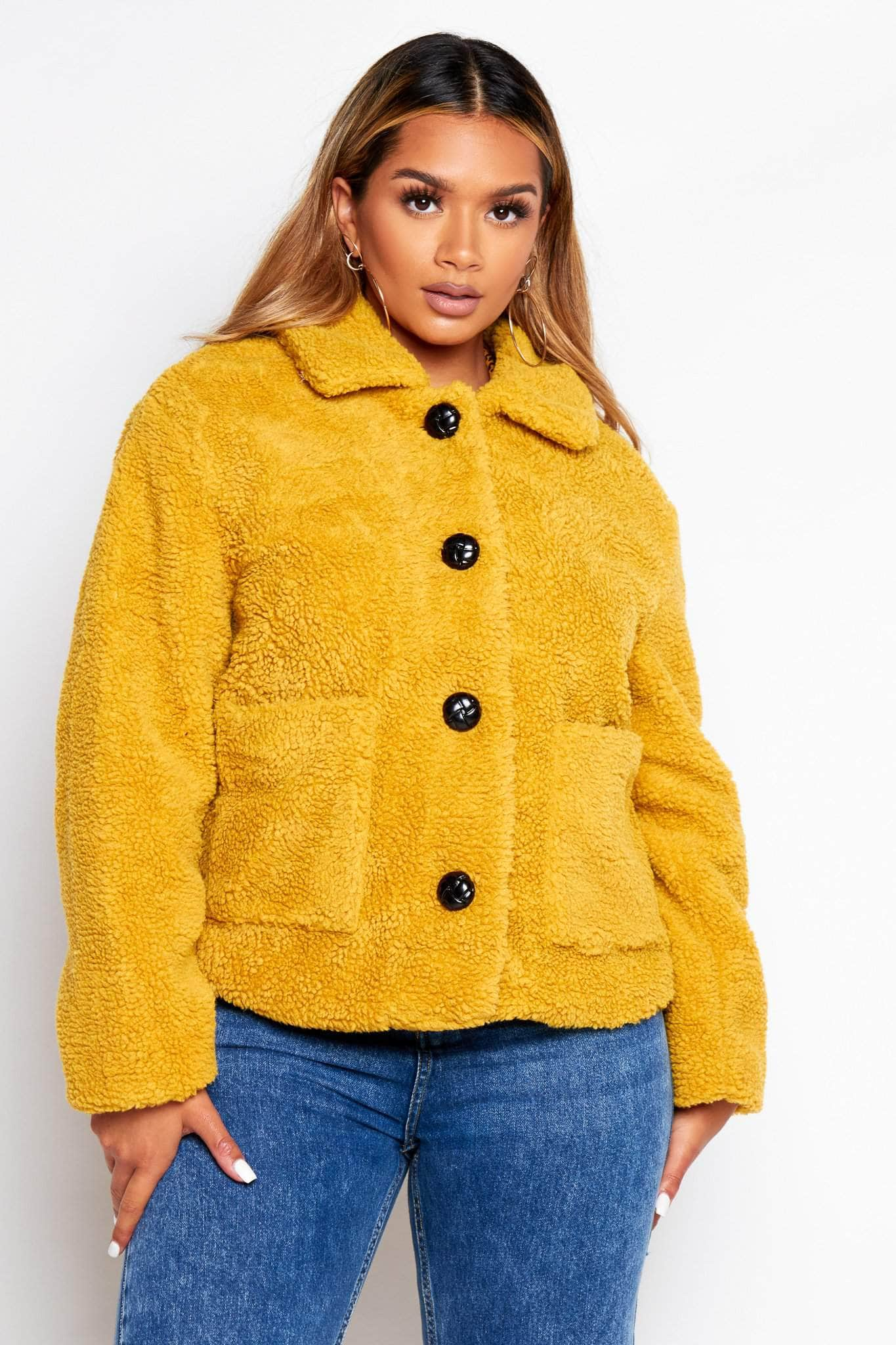 Mustard Buttoned Teddy Borg Jacket