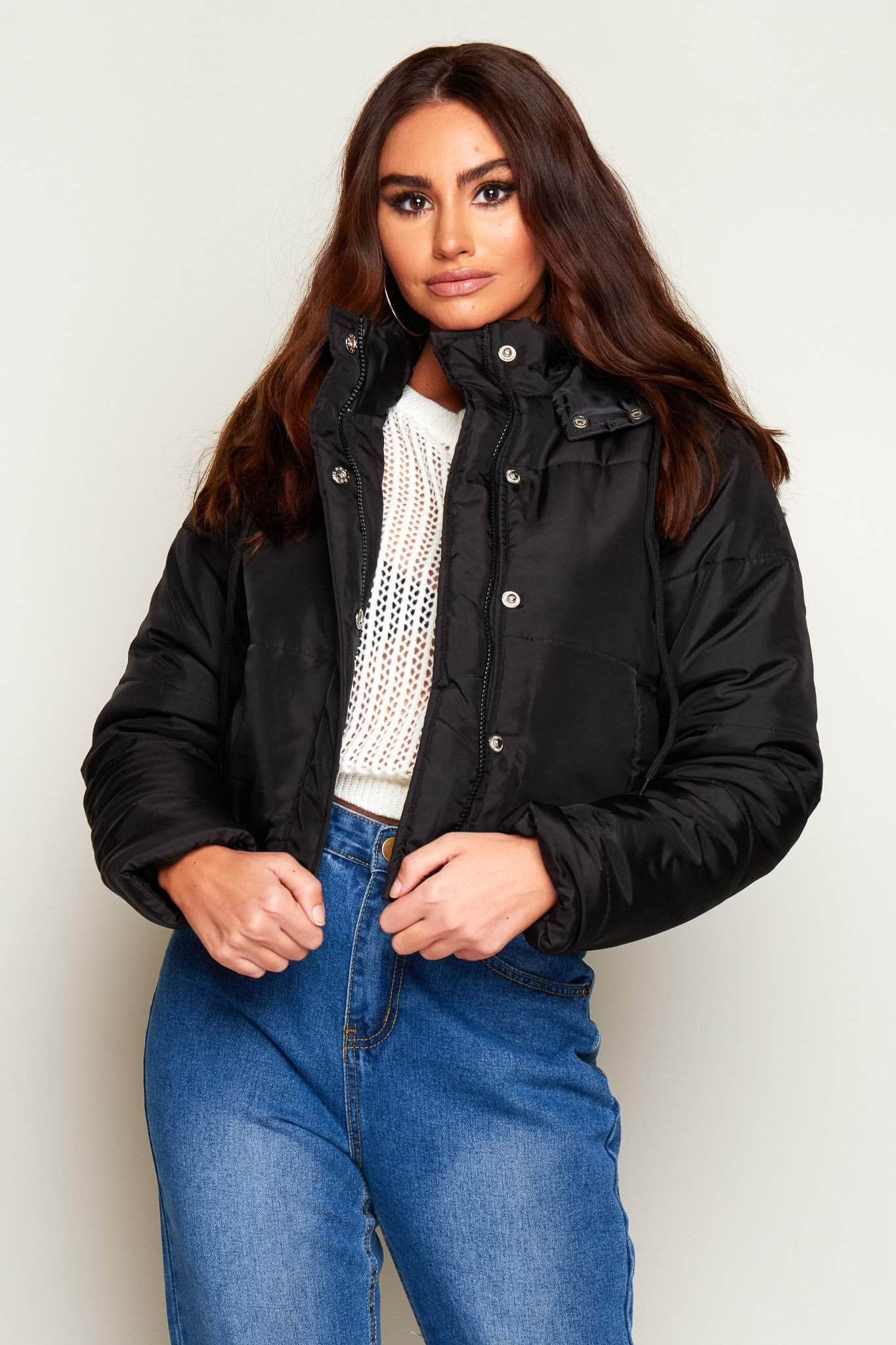 Black Cropped Padded Puffer Coat