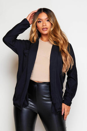 Black Crepe Casual Blazer
