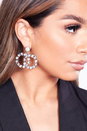 Silver Embellished Interlinked Circle Earrings