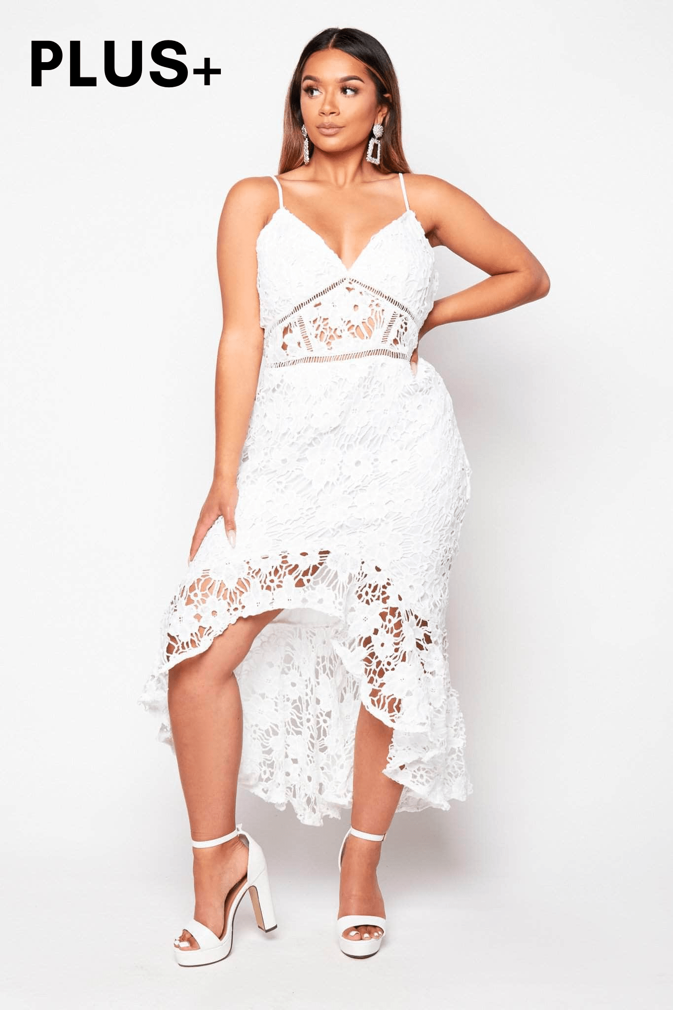 Plus+ White Lace Frill Hem Midi Dress