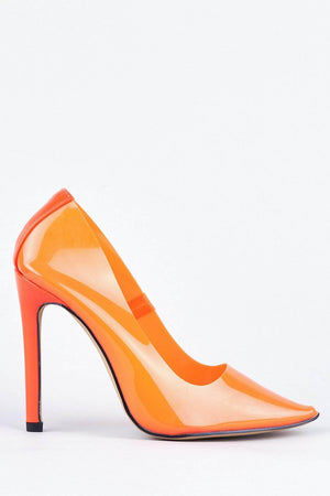 Orange Perspex Stiletto Heel Court Shoes