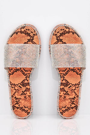 Orange Snake Diamante Embellished Sliders