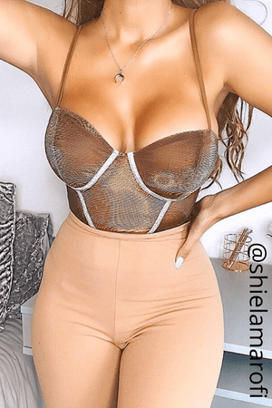 Bronze Metallic Bustier Bodysuit