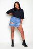 Plus+ Heavy Rip Denim Mini Skirt