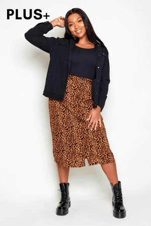 Plus+ Leopard Print Wrap Skirt