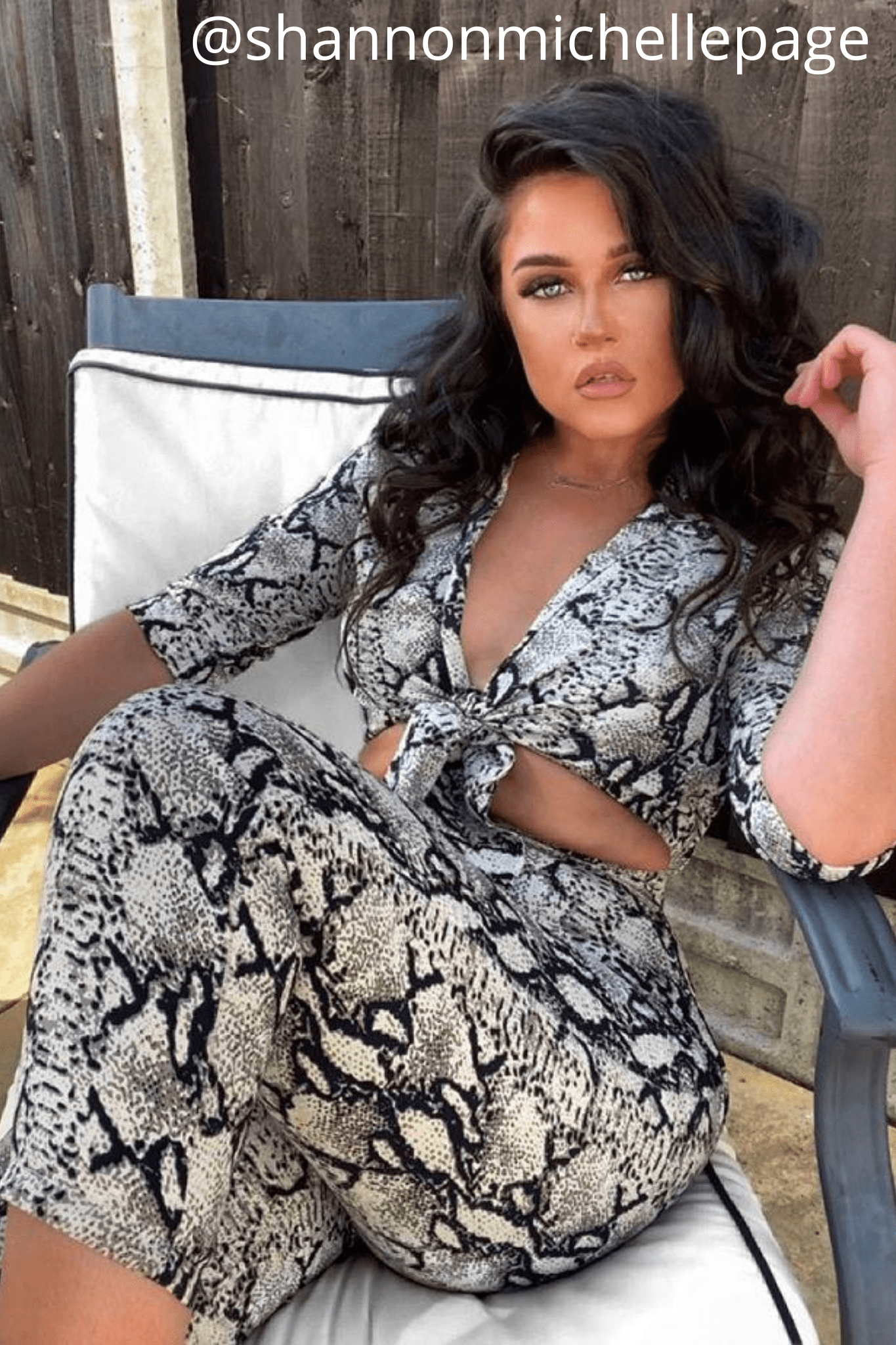 Snake Printed Front Knot Cut Out Wide Leg Jumpsuit