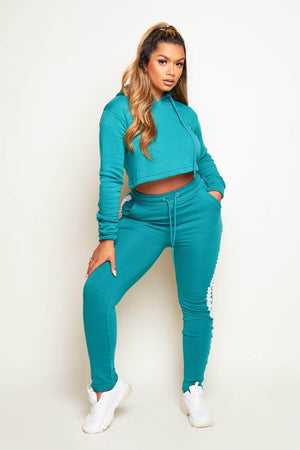Teal Contrast Stripe Crop Hoodie & Jogger Co-ord
