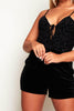 Black Velour & Mesh Playsuit