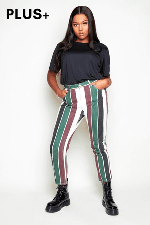 Plus+ Multi Stripe Denim Jeans
