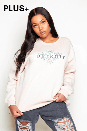 Plus+ Nude Sweatshirt with Detroit & Floral Print