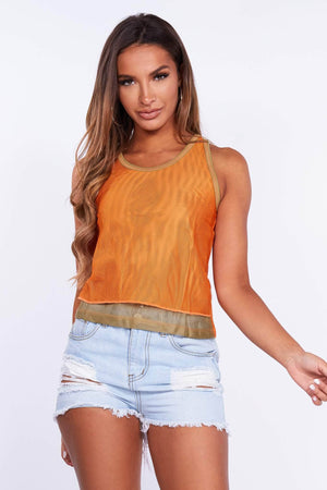Orange Net Vest Top