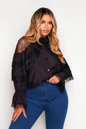 Black Contrast Lace Ruffle Blouse