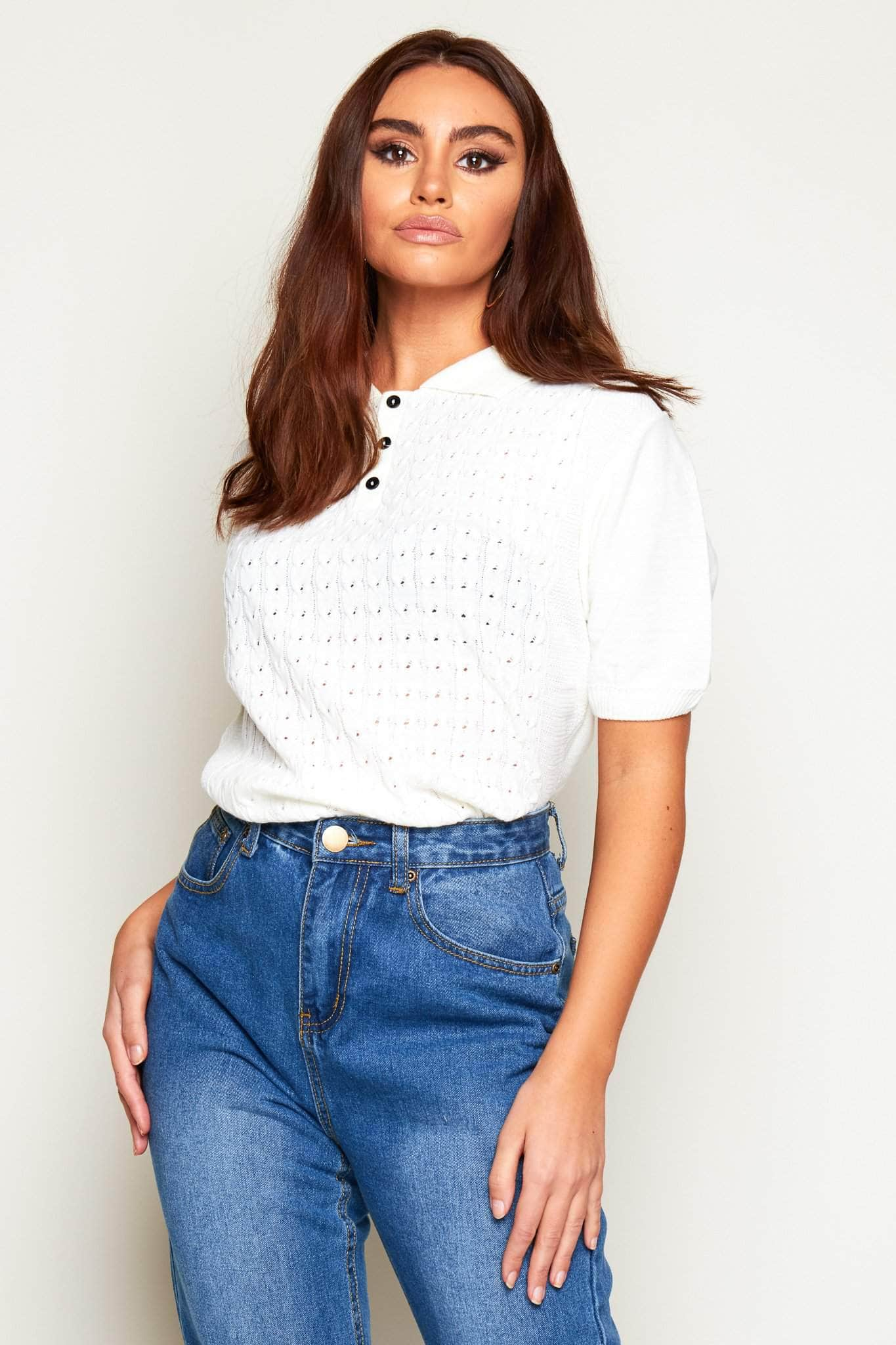 Cream Knitted Buttoned Grandad Top