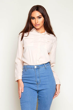 Nude Buttoned Pocket Shirt