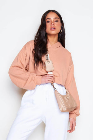 Peach Cropped Hoodie with Wide Sleeves